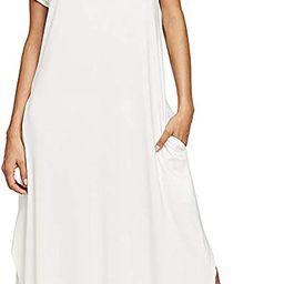 Women's V Neck Side Pockets Split Hem Beach Long Maxi Dress | Amazon (US)
