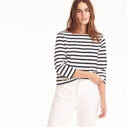 Structured boatneck T-shirt in stripe   J.Crew US