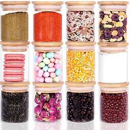 12 Piece Glass Storage Jars Set with Bamboo Lid, 6oz Glass Spice Canisters, Mini Glass Mason Jars... | Amazon (US)