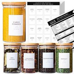 Spice Jar Labels Preprinted - Minimalist Black Text White Label - Fit Round or Rectangle Spice Ja... | Amazon (US)