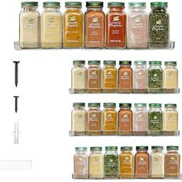 The 'Invisible' Acrylic Spice Rack Organizer Wall Mount, Strong, Sturdy & Space-Saving (Pack of 4... | Amazon (US)