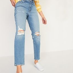 High-Waisted O.G. Straight Light-Wash Ripped Jeans for Women | Old Navy (US)