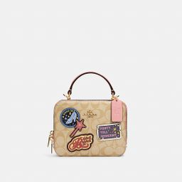 Disney X Coach Box Crossbody in Signature Canvas With Patches   Coach Outlet
