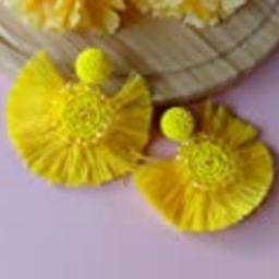 Yellow Fan Fringe Tassels Earrings, Handmade Half Circle Disc Beaded Statement Earrings, Bohemian Co   Amazon (US)