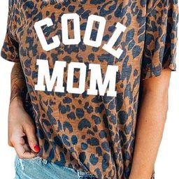 Womens Madre Leopard Print T-Shirts Short Sleeve Mama Shirts Cheetah Mom Graphic Tees Tops | Amazon (US)
