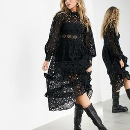 ASOS EDITION broderie midi dress with balloon sleeves | ASOS (Global)
