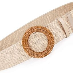 Women Belts For Dresses, Elastic Straw Rattan Waist Band With Wood Buckle | Amazon (US)