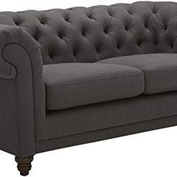 "Amazon Brand – Stone & Beam Bradbury Chesterfield Tufted Loveseat Sofa Couch, 78.7""W, Pepper | Amazon (US)"