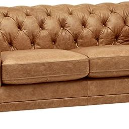 Amazon Brand – Stone & Beam Bradbury Chesterfield Modern Tufted Leather Loveseat Sofa Couch, 78... | Amazon (US)