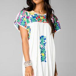 Carolina Short Sleeved Embroidered Mini Dress - Multi | BuddyLove