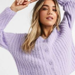 New Look fluffy knitted ribbed cardigan & vest co-ord in lilac | ASOS (Global)