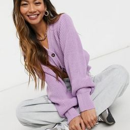 Glamorous cropped knitted cardigan with balloon sleeves in lilac | ASOS (Global)
