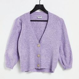 Noisy May cardigan with puff sleeves in lilac | ASOS (Global)