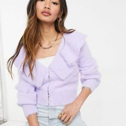 & Other Stories frill neck cardigan in lilac | ASOS (Global)