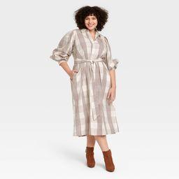 Women's Plus Size Gingham Long Sleeve High Cuff Shirtdress - A New Day™ | Target
