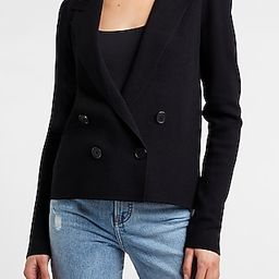 Cropped Double Breasted Puff Sleeve Sweater Blazer   Express