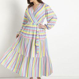 Tiered Striped Maxi Dress - Budding Stripes | Eloquii