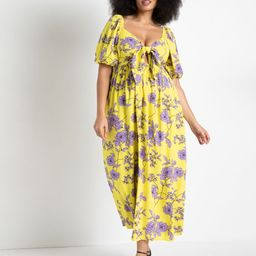 Tie Front Full Skirted Maxi Dress - Blossom and Branch | Eloquii