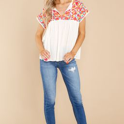 Fiesta Till Sunrise White Multi Embroidered Top   Red Dress