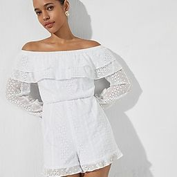 Eyelet Lace Off The Shoulder Ruffle Romper | Express