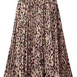 CHARTOU Womens Chic Elastic High Waisted A Line Leopard Print Pleated Shirring Midi-Long Skirt | Amazon (US)
