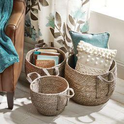 mDesign Woven Seagrass Braided Home Storage Basket Bin, Set of 3 | Target