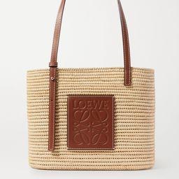 Brown + Paula's Ibiza small leather-trimmed woven raffia tote | Loewe | NET-A-PORTER | Net-a-Porter (US)