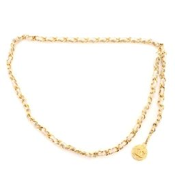 Chanel Vintage Medallion Chain Belt Metal and Leather Gold 64445613 | Rebag