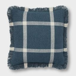 """18""""x18"""" Woven Plaid Square Throw Pillow with Fringe Navy/Cream - Threshold™ 