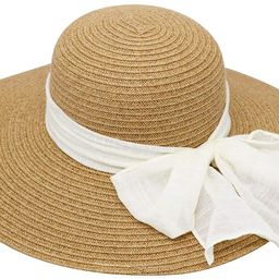 Women's Wide Brim Floppy Summer Beach Sun Hat for Ponytail w/Cute Ribbon Bow - Paper Straw, Adjus... | Amazon (US)