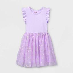 Girls' Daisy Print Short Sleeve Tulle Dress - Cat & Jack™ Light Purple | Target