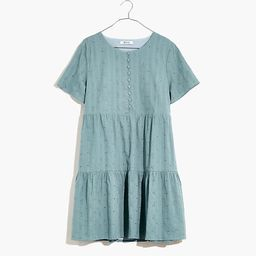 Plus Embroidered Eyelet Button-Front Tiered Mini Dress | Madewell