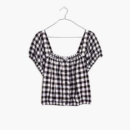 Linen-Blend Puff-Sleeve Button-Front Crop Top in Gingham Check | Madewell