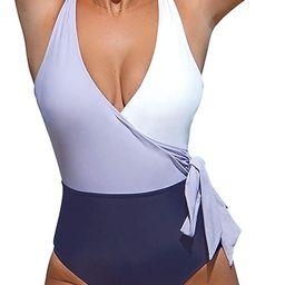 Women's One Piece Swimsuit Wrap Color Block Tie Side Bathing Suit | Amazon (US)