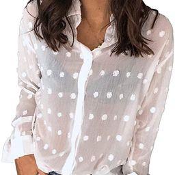 DOROSE Women's Long Sleeve Tops V-Neck Button Down Chiffon Blouse Shirts | Amazon (US)