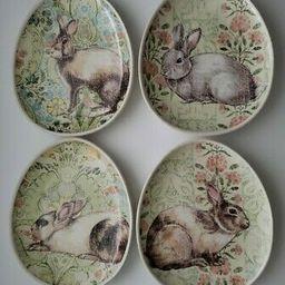 "4 Pottery Barn Floral Bunny Rabbit Oval Egg Shaped 8.5"" Plates Easter    eBay   eBay US"