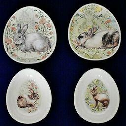 Pottery Barn Set Of 2 Floral Bunny Rabbit Egg Shaped Plates & 2 Matching Bowls    eBay   eBay US