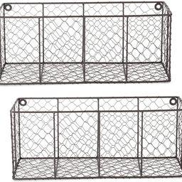 DII Chicken Wire Collection Farmhouse Wall Baskets, Medium, Vintage Grey | Amazon (US)