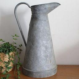 Vintage French Galvanised Water Jug - Zinc Pitcher - Rustic Farmhouse Decor - Garden Decor | Etsy (US)