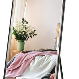 """Full Length Mirror 65""""x23.6"""" Standing, Wall Hanging, Vertical Black Frame HD Rectangle Full Body ... 