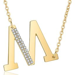 Gold Initial Necklaces for Women,18k Real Gold Plated Sideways Initial Necklace Diamond Letter Pe...   Amazon (US)
