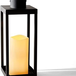 Large Outdoor Lantern with Solar Candle - 18 Inch Tall, Matte Black Metal Frame, Waterproof Flame... | Amazon (US)