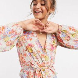 ASOS DESIGN tie front crop suit blazer in floral | ASOS (Global)