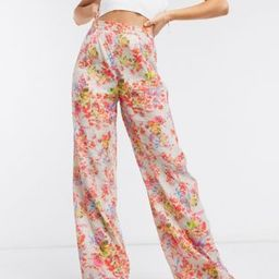 ASOS DESIGN wide leg suit pants in floral | ASOS (Global)