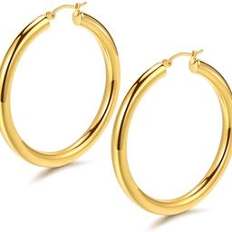 Hoop Earrings 18K Gold Plated 925 Sterling Silver Post 5MM Thick Tube Hoops for Women And Girls ... | Amazon (US)