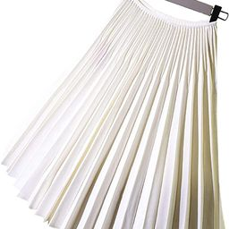 Luv Women's Elastic Waist Patterned Knife Pleating Twill High Precision Free Size Pleated Midi Sk... | Amazon (US)