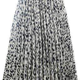 Womens Chic Elastic High Waisted A Line Leopard Print Pleated Shirring Midi-Long Skirt | Amazon (US)