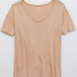 Aerie Distressed V-Neck Boyfriend T-Shirt | American Eagle Outfitters (US & CA)