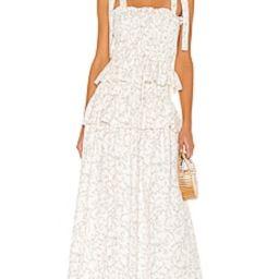 Shona Joy Monique Shirred Midi Dress in Ivory & Multi from Revolve.com   Revolve Clothing (Global)