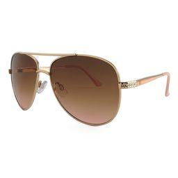 KJL by Kenneth Jay Lane Women's Sunglasses GOLD - Gold & Brown Aviator Sunglasses | Zulily